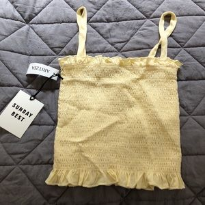 Yellow Aritzia tube top with straps